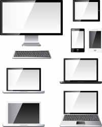 Einfache Darstellungen von Laptops, Handys, Tablets, Bildschirmen und Tastaturen