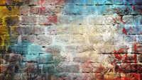 Eine gemauerte Wand mit verschiedenen Farben bzw. Farbkleckse